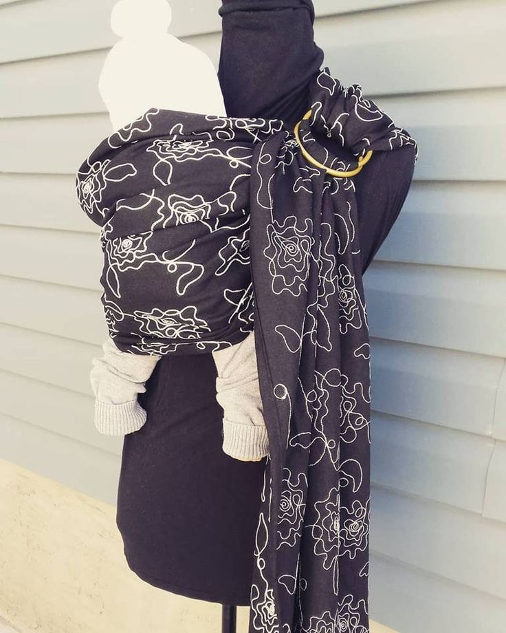 Classic Black Linen Ring Sling, Unique, Only one made, soft embroidered black linen, elegant, reversible by UchiWraps on Etsy
