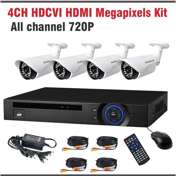 New HDCVI System 720P 1.0MP 4CH Bullet Surveillance Security Camera CCTV 4 Channel CCTV Kit Security Camera System
