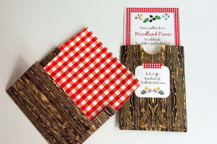 Aesthetic Nest: Invites: Woodland Picnic Birthday Invitation