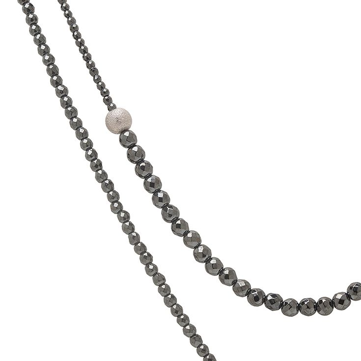 Sirius Necklace with Hematite natural gemstones | Clasp: Platinum plated Sterling Silver 925 with one Sapphire | Trademark: Platinum plated Sterling Silver 925 bead