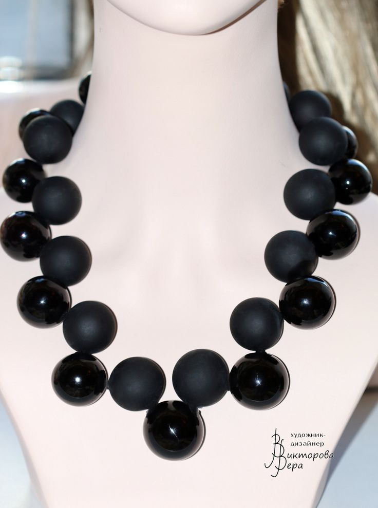 "Collection Necklace ""Magic graphics. Black and white."" Artisan lampwork hollow beads, sterling silver."