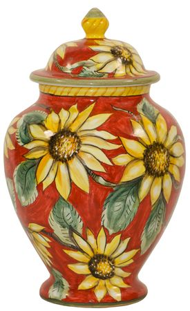 Italian Ceramic Centerpiece Urn - Red Sunflowers - Beautiful in any setting!
