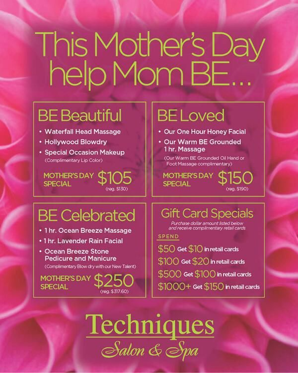 Let mom B.E. this Mother's Day with one of our custom spa packages Embedded image permalink
