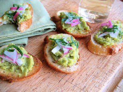 ... Gourmet's Fava Bean Crostini: fava puree topped with radish and herbs