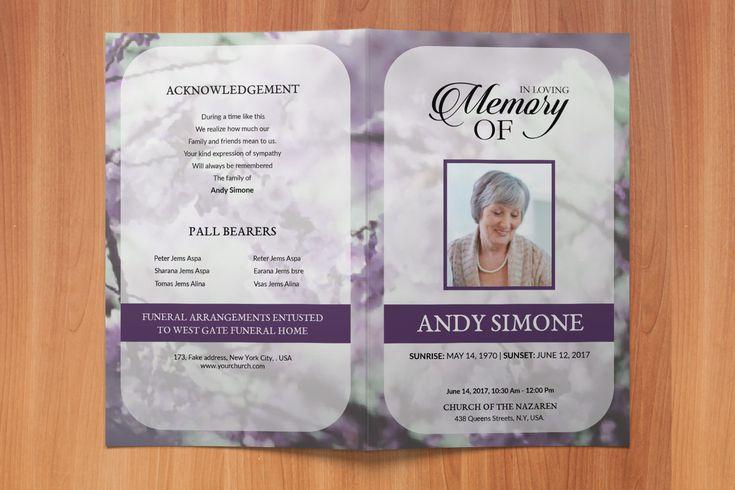 511 Best Funeral Program Template Images On Pinterest Bridal
