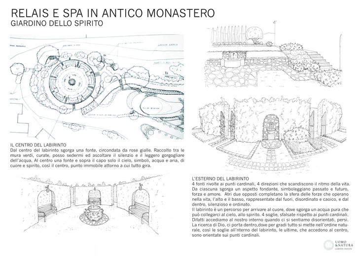 "Monastic garden project, ""Garden of Spirit"", with symbolic plants and features."