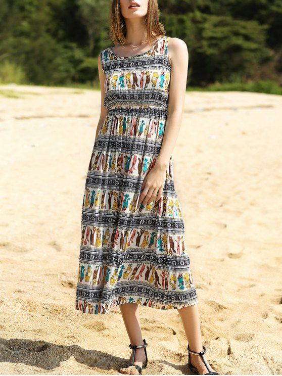 Colorful Animal Print Long Dress - COLORMIX M