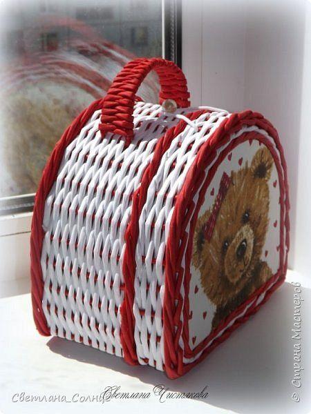 Поделка изделие Плетение Чемодан и чемоданчик Бумага Бумага газетная фото 11