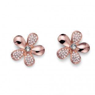 Oliver Weber Women luxury elegant style bloom rosegold earrings with Swarovski Crystals