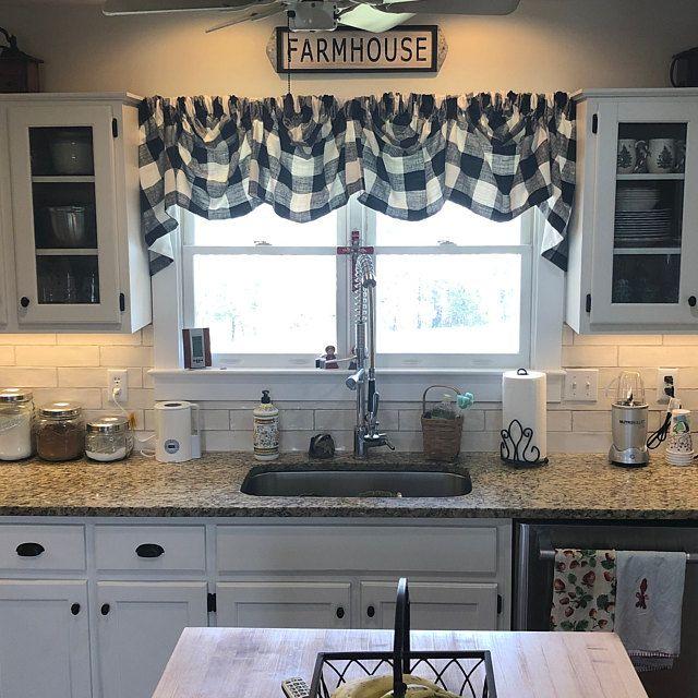 Buffalo Check Tab Flounce Valance Panel Or Pillow In 2020 Farmhouse Kitchen Decor Rustic Kitchen Kitchen Design