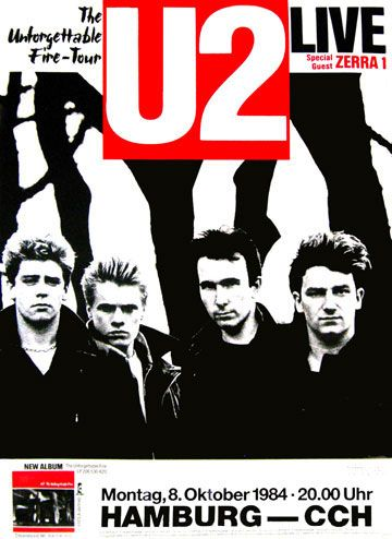 """U2 Concert Poster Bruce says, """"Wow, in 1984 I was listening and Bono had yet to develop a huge ego on the world stage. I liked them better then; Bono is not only a diva but a positive social force."""