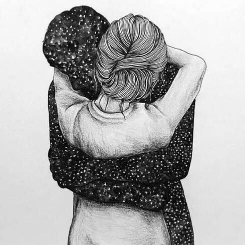 art boy drawing galaxy girl hug illustration space