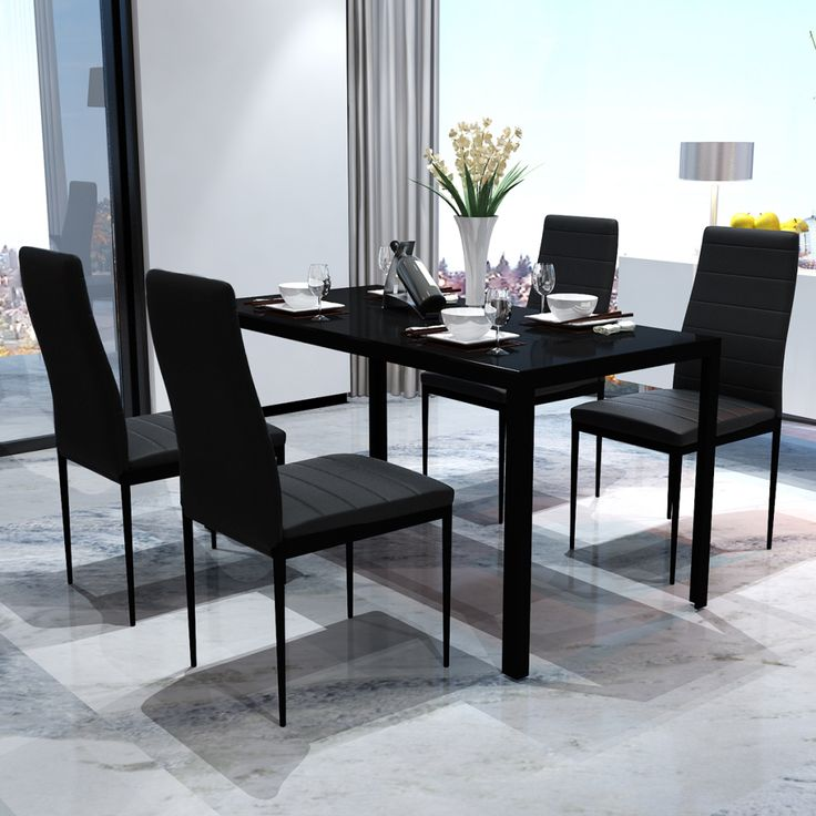 Black Dining Table Set with 4 Chairs Contemporary Design |lovdock.com