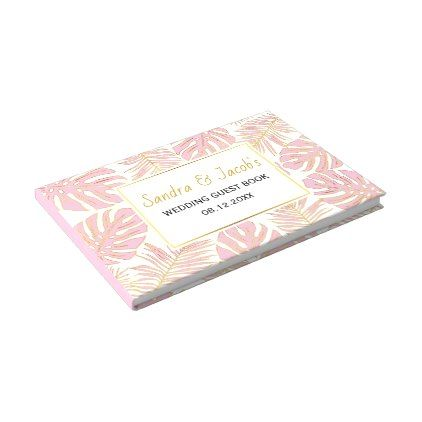 #Tropical pink and gold leaves modern wedding guest book - #wedding gifts #marriage love couples