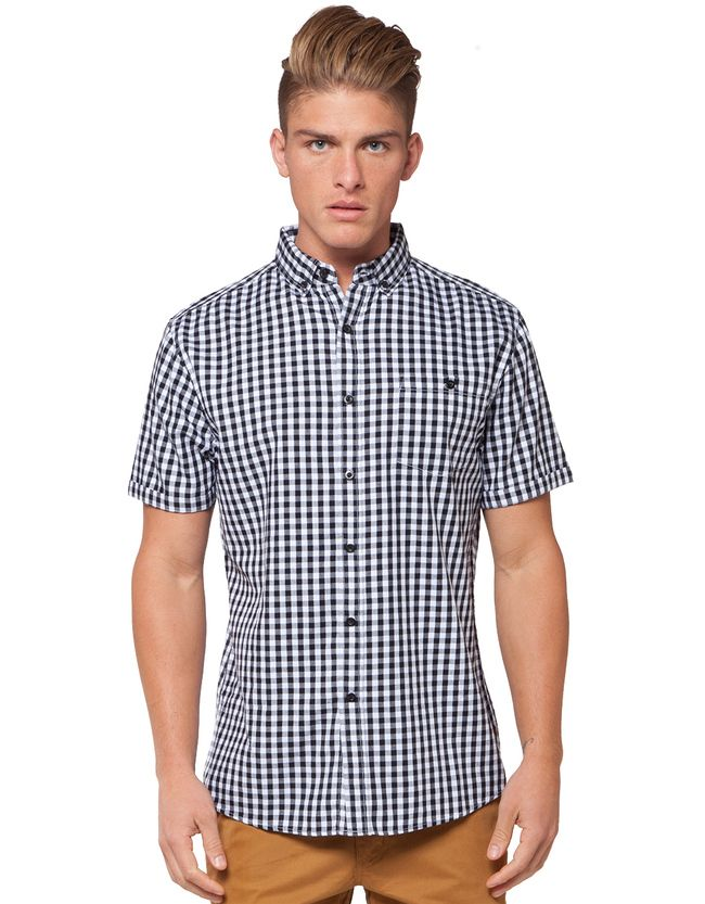 IFD Gingham Short Sleeve Shirt | Men's Shirts | Hallenstein Brothers