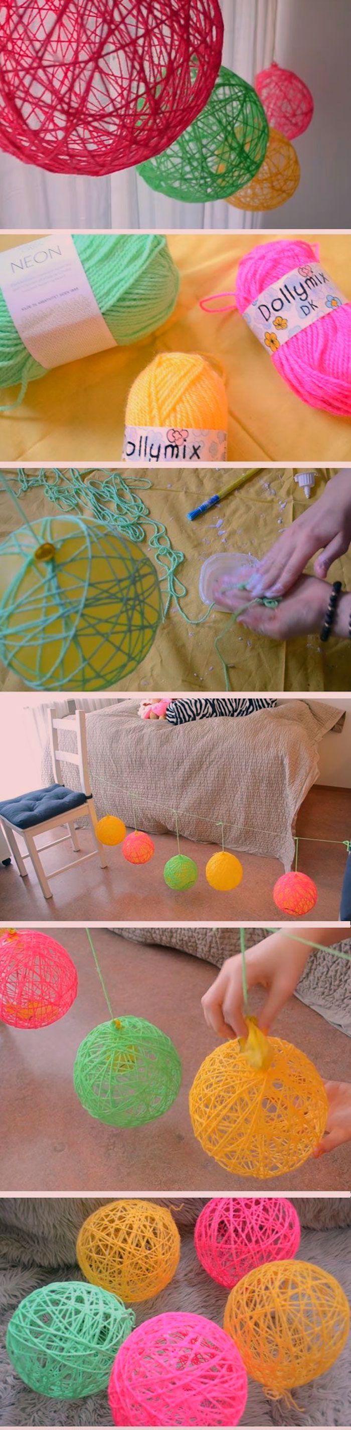 Diy Deko Idee Bunte Kugeln Aus Garn Oder Wolle Basteln Zimmer Dekorieren Spring Diy Diy Room Decor For Teens Diy For Teens