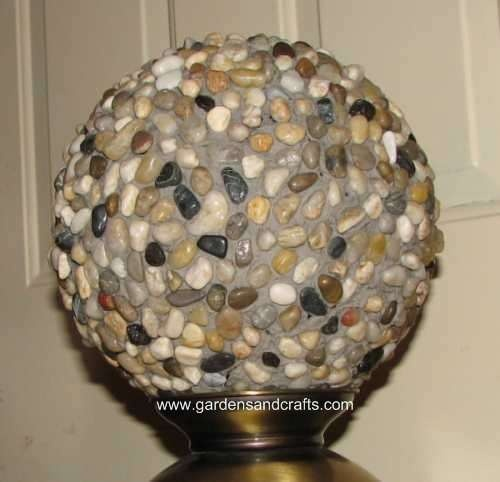 You can make garden spheres out of recycled bowling balls.   This would be awesome if  you use the tumbled glass stones from the craft store in colors to match your yard!  bowling balls are waterproof and frost resistant   although I would store in garage for winter not sure how resin would hold up.