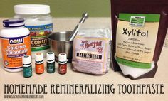 Homemade Remineralizing Toothpaste Recipe –I'm not so sure about EOs in the mouth, but maybe some extract instead...
