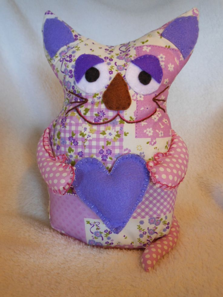 Lilac and mauve Kitty doorstop