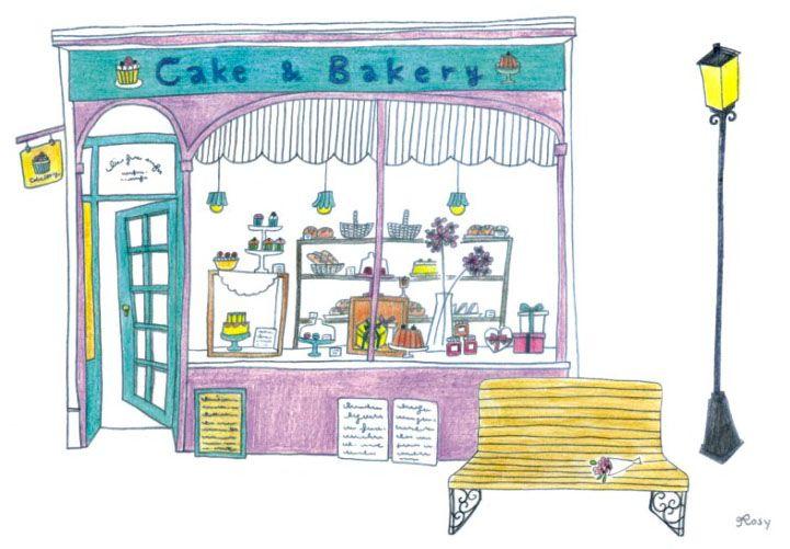 街景角落明信片貼紙組 / 甜點店