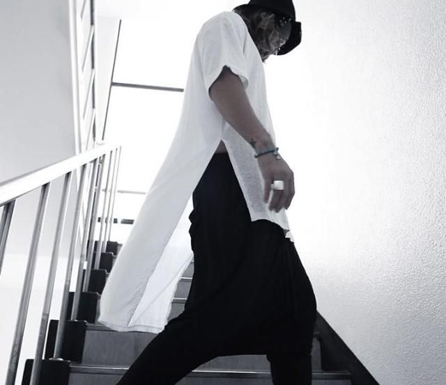 Hip hop Men t shirt tyga cool extended t shirt Low High Short Sleeve tee top hba…