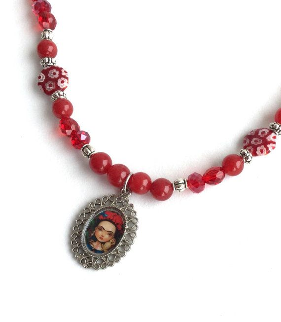 Frida Kahlo pendant necklace red crystal and millefiori