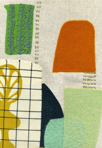 Maxine Sutton. Orange Beaker. (detail) ©2009  screen printed, needle-punched and   embroidered textile.