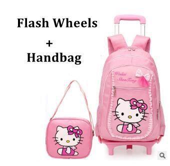 Kid's Trolley Bag on wheels 6 wheeled Backpacks school Girl's travel Luggage bag Children School Trolley Backpack Rolling Bags