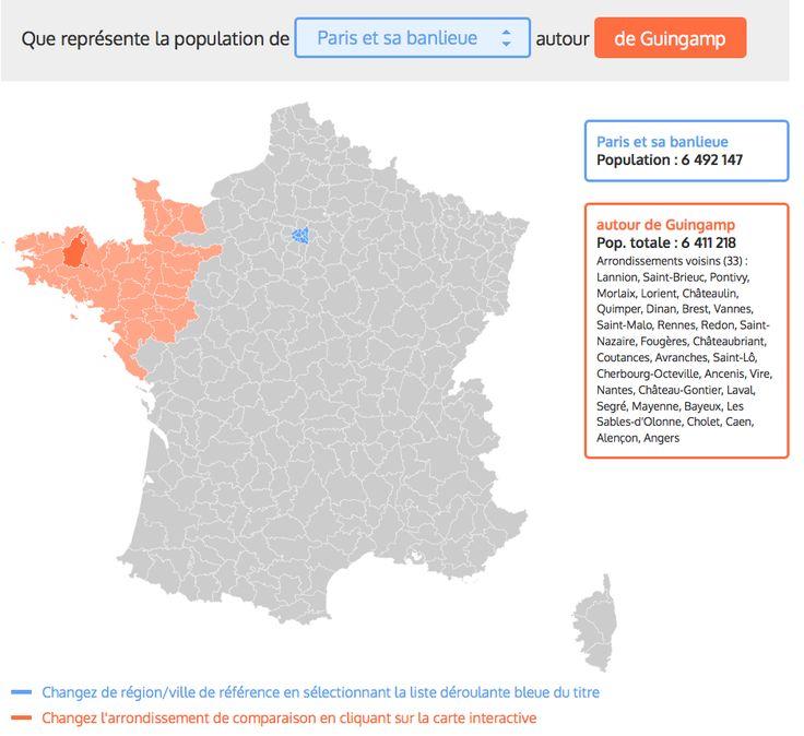 Comment faire entrer la population de Paris autour de Guingamp | Slate.fr