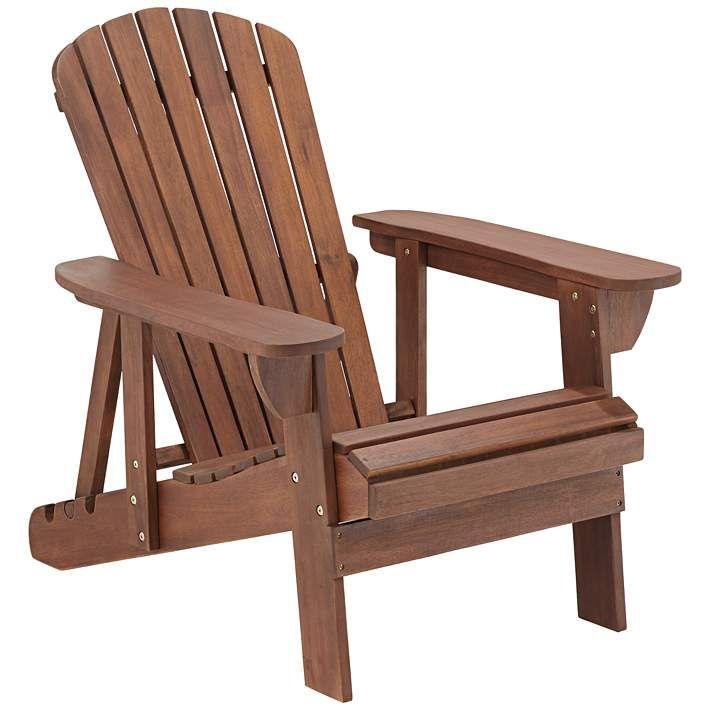 Fletcher Dark Wood Outdoor Reclining Adirondack Chair 8x296