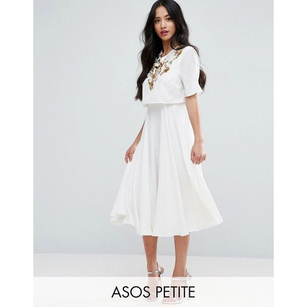 ASOS PETITE Embellished Crop Top Midi Skater Dress (€65) ❤ liked on Polyvore featuring dresses, beige, petite, petite dresses, mid calf dresses, sequin dress, sequin midi dress and skater dress