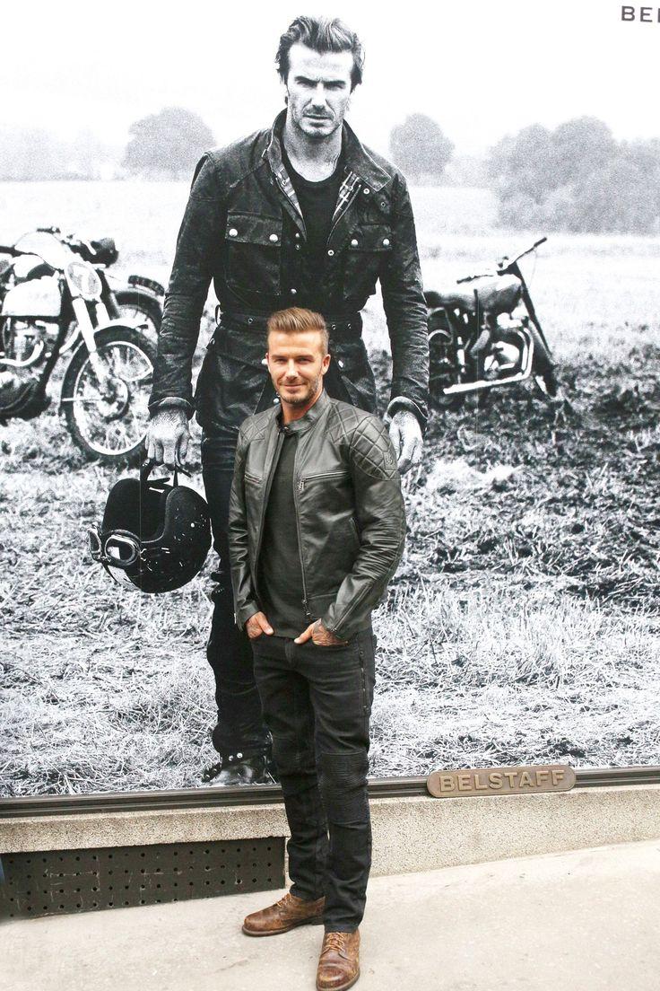 New York Fashion Week parties - David Beckham in a Belstaff leather jacket