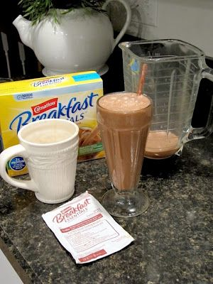 Easy Mocha Frappe ~ Pour your cup of morning coffee that has cooled down a little into a blender. Add a packet of chocolate flavored Carnation Instant Breakfast drink powder and some milk, then blend.  If you want an iced mocha frappe that's thick and yummy, just add ice to the blender!!