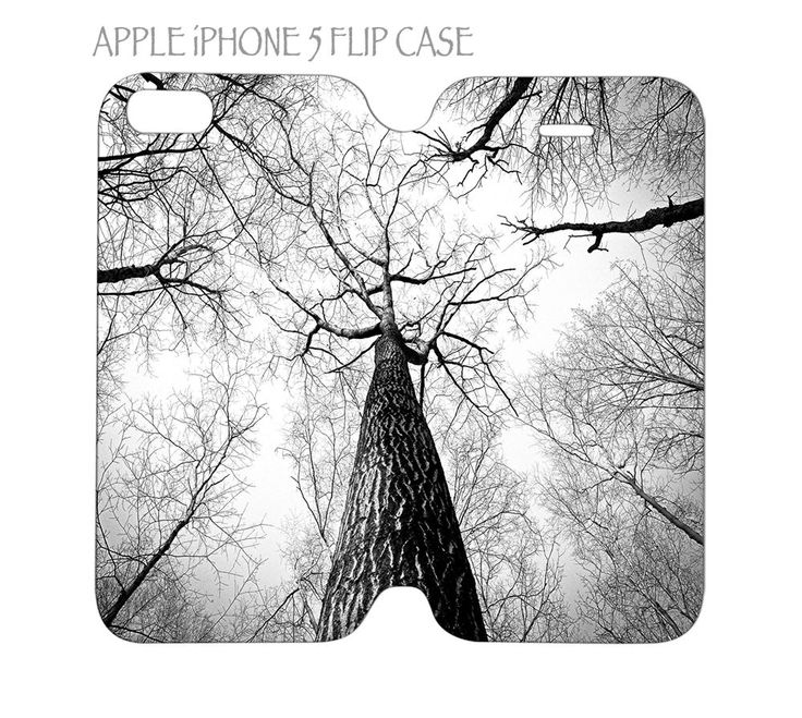 iPhone 5 / 5s Flip Case Cover Folio Cover Branch of Trees Black and White #QuinnCafe