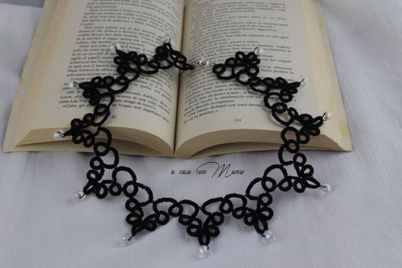 Collana nera pizzo chiacchierino black lace necklace tatting