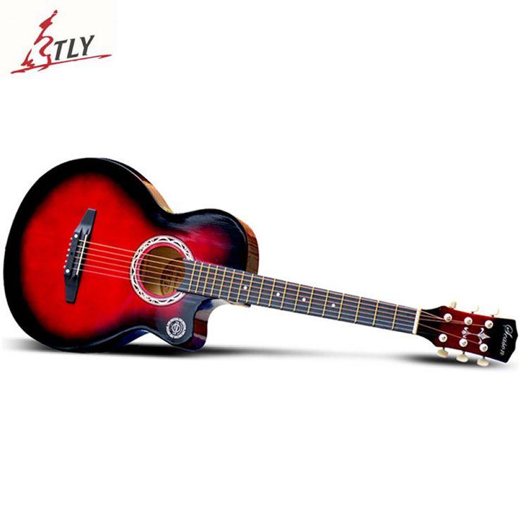 """Saysn kualitas tinggi 38 """"basswood pemula gitar guitarra acoustic folk guitar 6-string enam warna"""