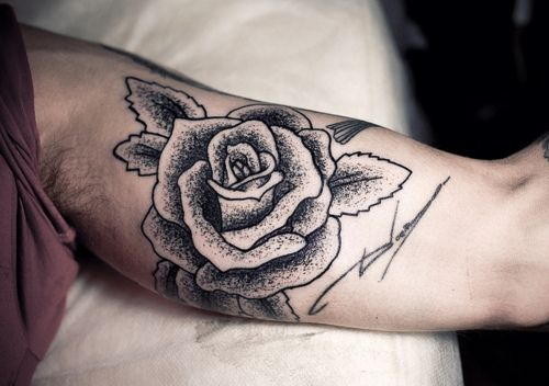 Inner arm rose tattoo love the stippled style tattoo for Rose tattoos on arm