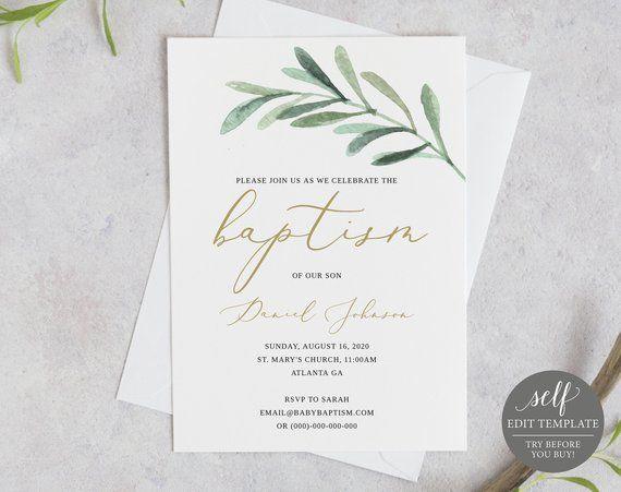 Printable Classic Baptism Invitation Template INSTANT Download Fully Editable Templett Elegant Baptism Invite
