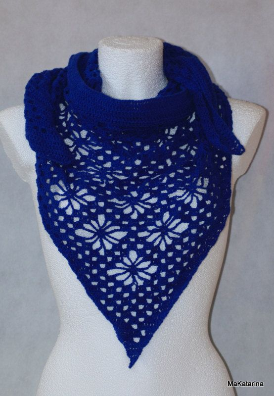 Crochet shawl cornflower shawl cotton shawl lace by MaKatarina
