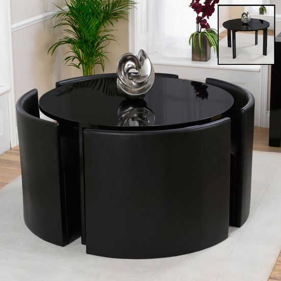 Round Black Glass Dining Tables Set