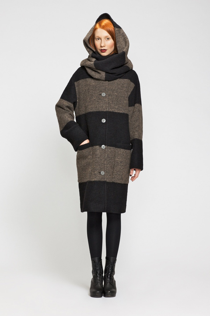 """Huppelus jacket with detachable wrap/snood. I bet this coat shows up if I google """"cozy""""..."""
