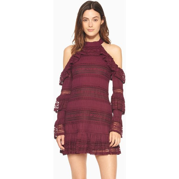 Parker NY Windham Dress ($288) ❤ liked on Polyvore featuring dresses, purple party dresses, cold shoulder dress, sparkly party dresses, tiered ruffle dress and sparkly cocktail dresses