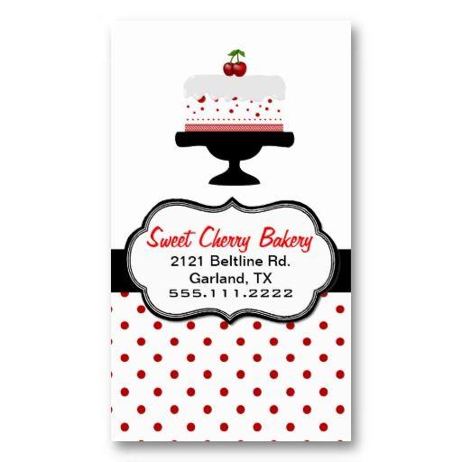 Stylish Cherry Cake Custom Bakery Business Card