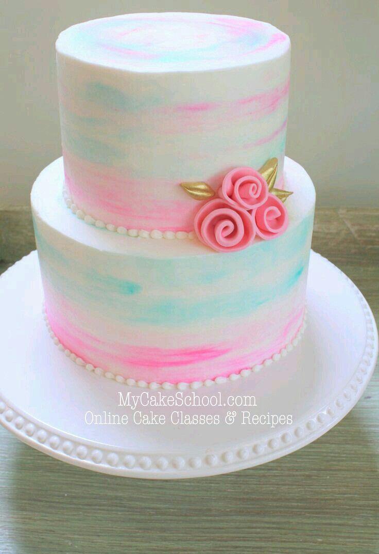 Pink/blue/white rose two layered cake!