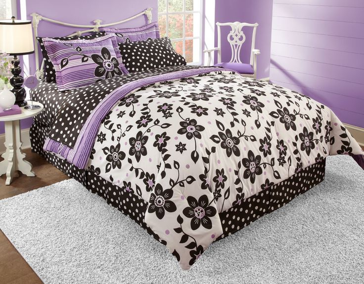 Black White And Purple Bedding, Teen Bedding, Teen Girl Bedding, Black And  White