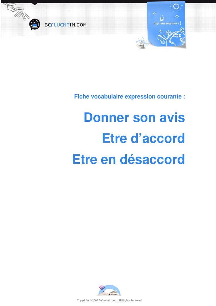 Fiche vocabulaire expressions courantes donner son avis  expressions courantes pour donner son avis en français.
