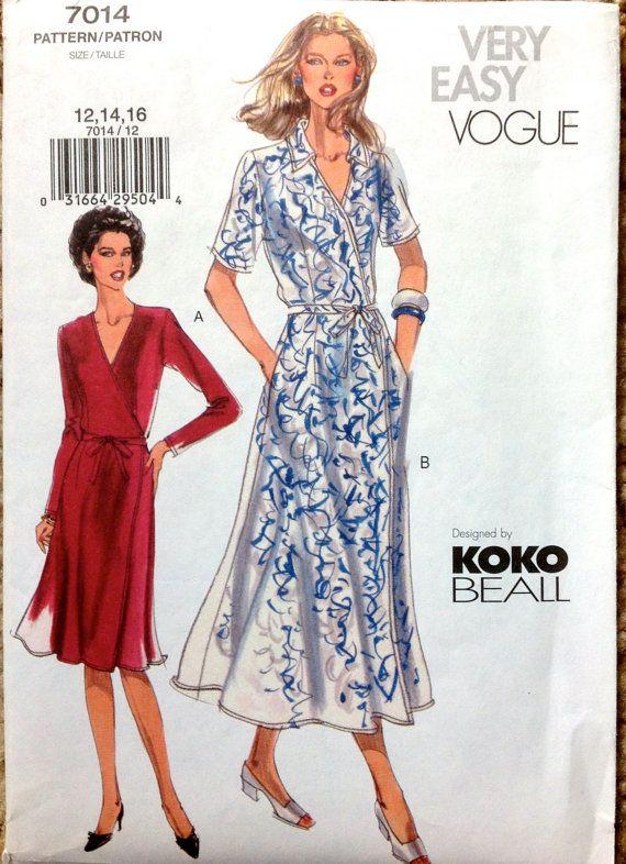 Vogue  7014  Misses Misses Petite Wrap Dress Pattern by mbchills, $10.00