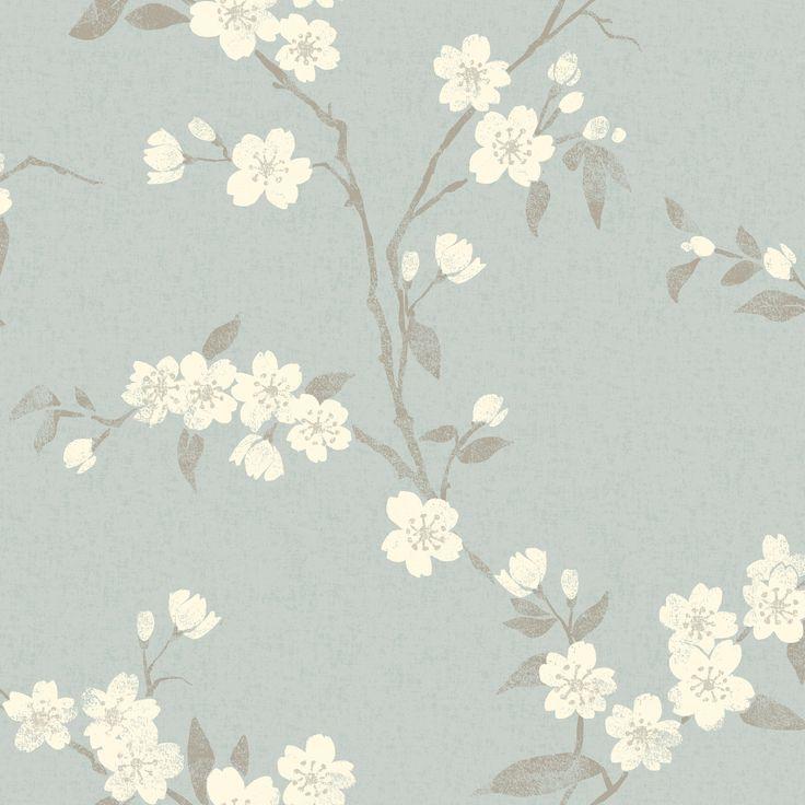John Lewis Cherry Blossom Wallpaper, Duck Egg