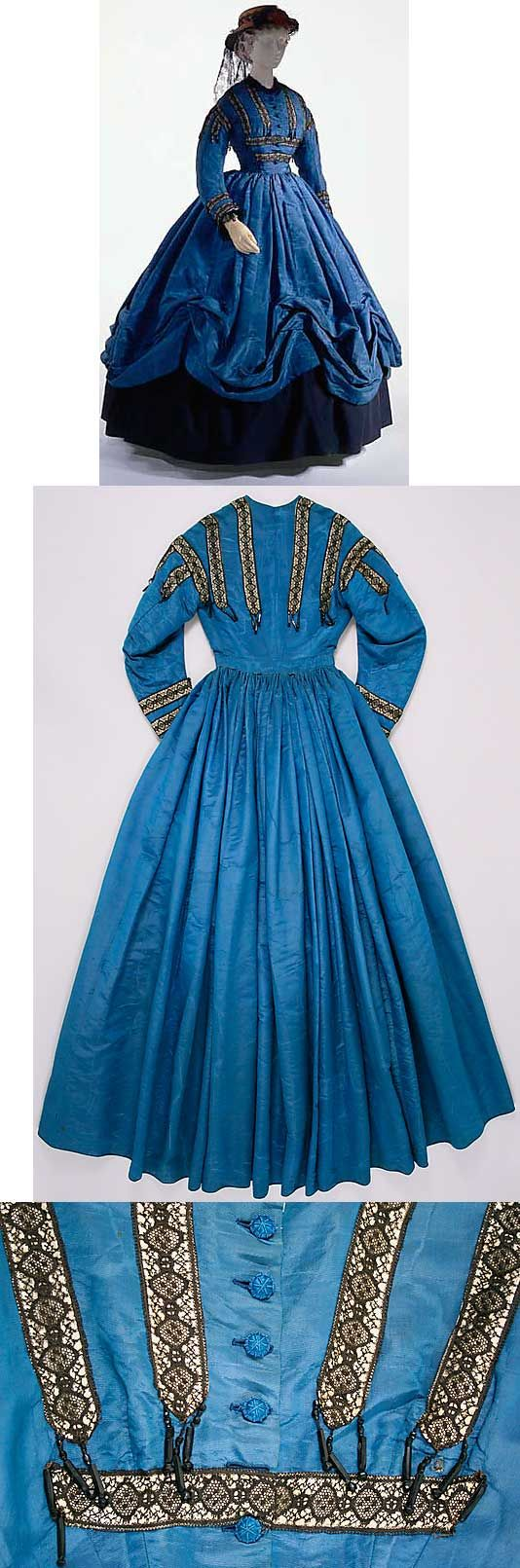 French silk dress, circa 1864. American walking dress, c. 1864, of blue watered silk, trimmed with black lace, white ribbon, and jet beads. metal rings sewn into the seams are designed to be used with a skirt lifting device to raise the skirt into swags over an underskirt.