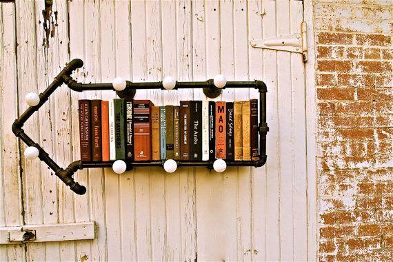 guiltless reading: Industrial pipes for bookshelves by Stella Bleu Designs